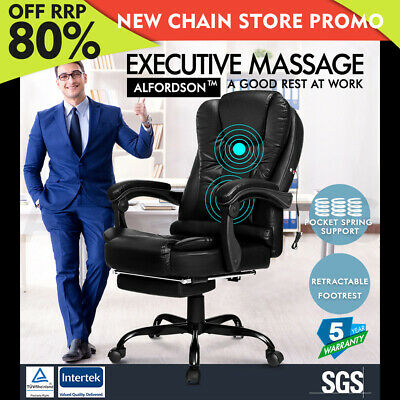 ALFORDSON Massage Office Chair with Footrest Executive Gaming Seat PU Leather