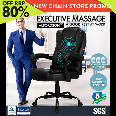 ALFORDSON Massage Office Chair Executive Seat Recliner Gaming Racing PU Leather