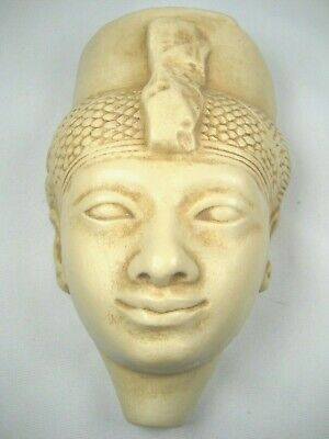 """Egyptian Pharaoh Head Relief Bust for Wall Mount-Ceramic-5.5"""" Tall x 3.75"""" Wide"""