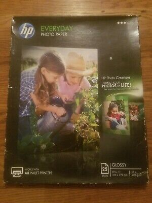NEW HP Everyday Photo Paper 25 Sheets Glossy 8.5×11 53lb 3 Stars Inkjet