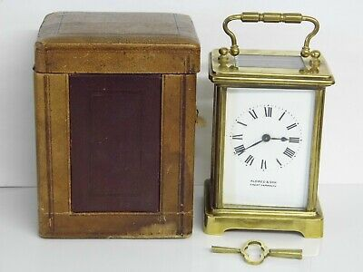 Working Antique French Aldred & Son Gt Yarmouth Carriage Clock With Case & Key