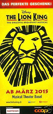 Disney - The Lion King - The Original Broadway Musical - Thater Basel 2015 Flyer