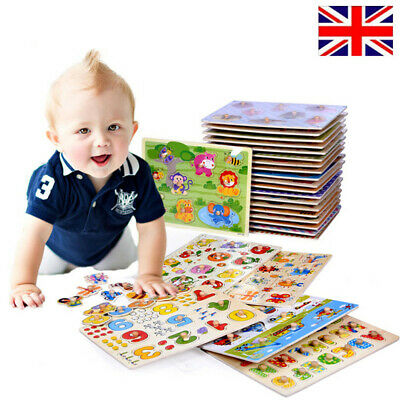 UK Baby Kids Jigsaw Puzzles Wooden Jigsaws Animal Letter Early Learning Toy Gift