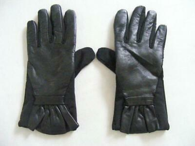 $58 Thinsulate Ladies Black Leather Gloves Ruffle Wrist Touch Screen Size Small