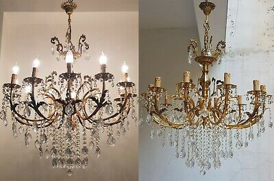 Matching Pair of Antique Vintage 12 Arms  Brass & Crystals  Chandelier Lighting