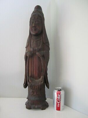Vintage Japanese wood carving Buddhist deity sculpture Asian art Chinese antique