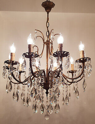 Antique Vintage 10 Arms  Brass & Crystals  Bronze Tone Chandelier Lighting Lamp