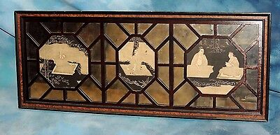 Rare Antique Chinese Expo Wood-Block Prints Framed in Mirror