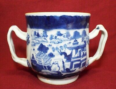 Antique CANTONESE CHINESE Export ORIENTAL Pattern DOUBLE HANDLED CUP MUG