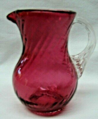Antique Cranberry Glass Applied Handle Hand Blown Small Syrup? Pitcher