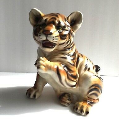 """Vintage TIGER CUB Hand Painted Ceramic Figurine Statue Made in Italy 10"""" Tall"""
