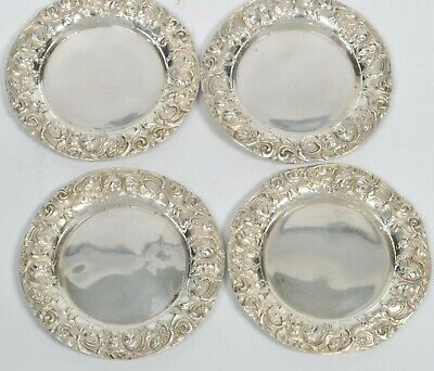 Vintage Antique WOODSIDE Sterling Silver Ornate #2219 Butter Pat Dish Set of 4