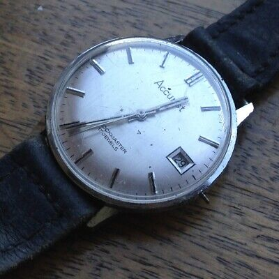 Amazing Vintage 1960s Swiss Made Man's 34mm ACCURIST SHOCKMASTER Watch - REPAIRS