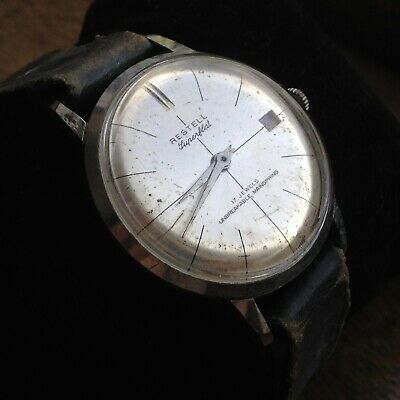 Rare Vintage Man's Swiss Made 1960s 34mm RESTELL Watch - WORKING