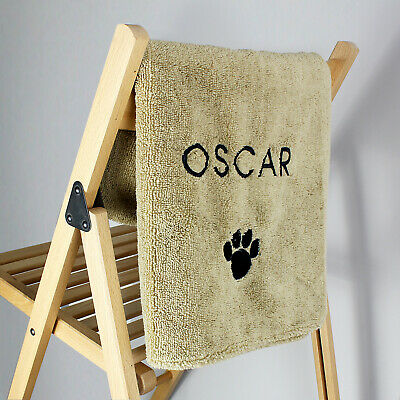 Personalised Pet Paw Brown Towel For Dogs Gifts Presents