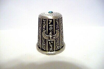Thimble Pewter Egypt Isis & A Camel W/Blue Crystal