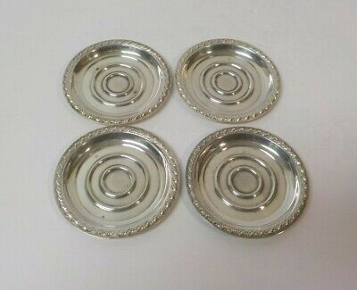 Set/4 William Rogers Sterling Silver Butter Pats, No Monograms