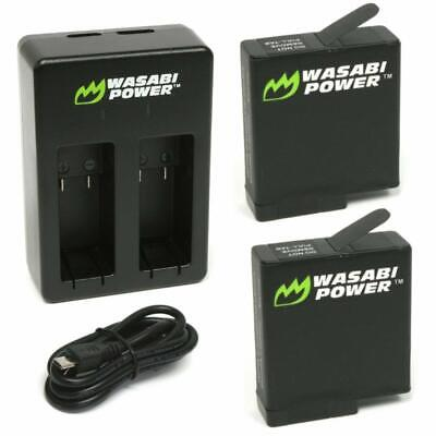 Wasabi Power Battery (2-Pack) & Dual Charger for GoPro HERO7 Black HERO6 Black