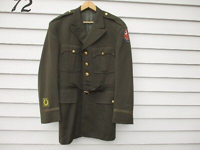 WWII US Army Officer Tunic and Belt Engineer Buttons Fort Belvoir Label WW2