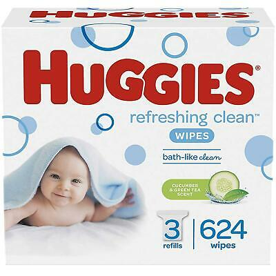 HUGGIES Refreshing Clean Scented. Hypoallergenic. 3 Refill Packs (624 Wipes)