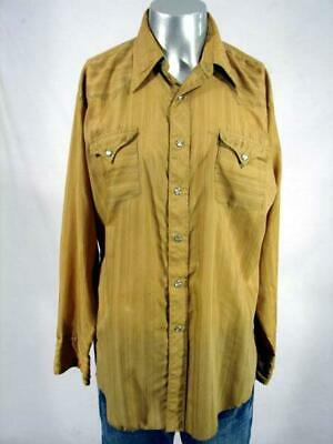 HH2403 VINTAGE 1970s **H BAR C** STRIPED YELLOW PEARLSNAP WESTERN  SHIRT - 52