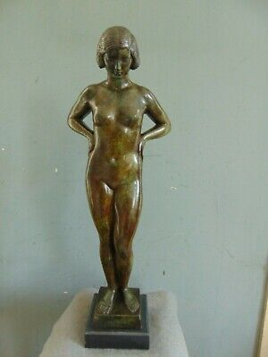 VINTAGE BRONZE ART DECO NUDE SCULPTURE Signed PAUL MANSHIP - ROMAN BRONZE WORKS
