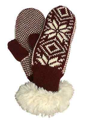 Lukees Rust Red Snowflake Print Knit & Faux Fur Mittens