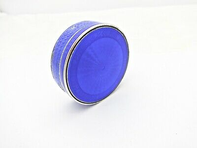 Antique French Charles Barrier Blue Enamel Gilt Sterling Silver Snuff Pill Box,2