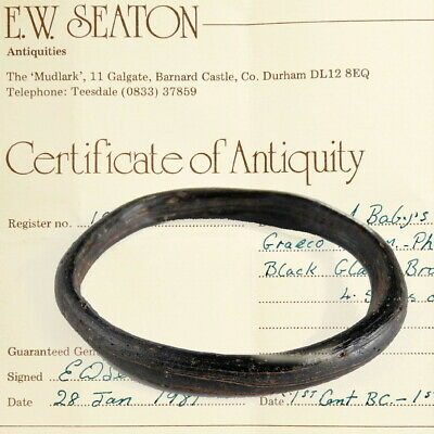 Ancient Roman Black Glass Bracelet Bangle Ex Bonhams London 2004