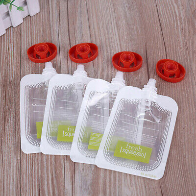 10PCS Reusable Baby Fresh Squeezed Pouch Weaning Food Puree Squeeze Storage USHK