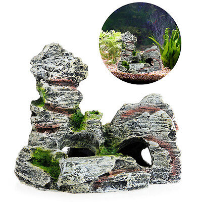Aquarium Mountain View Rock Cave Tree Bridge Fish Tank Ornament Decoration Decor