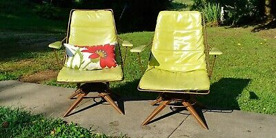 Pair Mid Century 1960's Homecrest Vintage Chairs orig Pad Swivel Rocking -VGC!