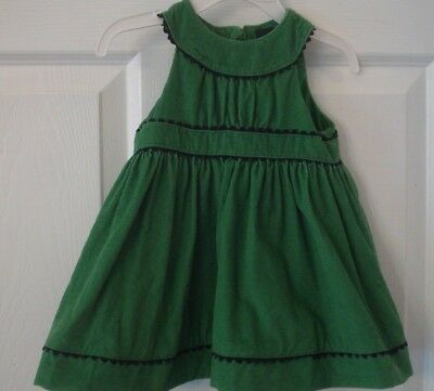 Baby Gap Infant Green Corduroy Dress Black Trim Size 3-6 Months EUC