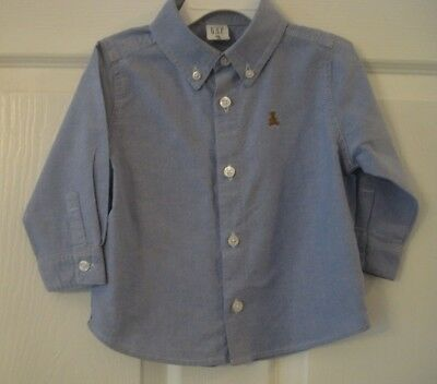 Baby Gap Infant Boy's Blue Button Down Long Sleeve Shirt Size 12-18 Months EUC