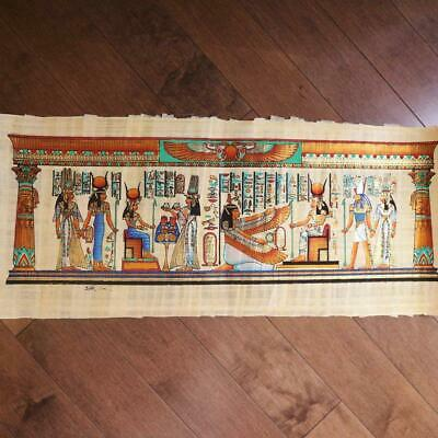 """Huge Signed Handmade Papyrus Egyptian Queen_ ISIS _Art Painting...32""""x12"""" Inches"""