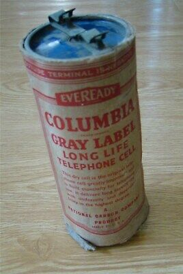 Antique Eveready Columbia Gray Label Telephone Dry Cell Battery