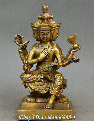 Chinese Buddhism old Bronze Fortune Four sides Buddha Davin heavenly king statue