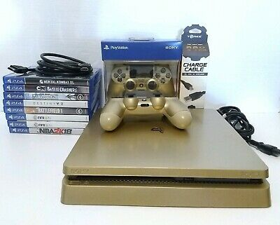 Sony PlayStation 4 PS4 Slim 1TB GOLD Limited Edition Console 2 Cntrlls + 8 Games