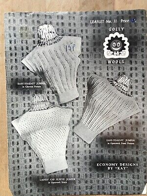 "Knitting Pattern, 50's, 3 Cap-Sleeved Lacy Tops, Slash Necks, 3ply, 32"" Bust"
