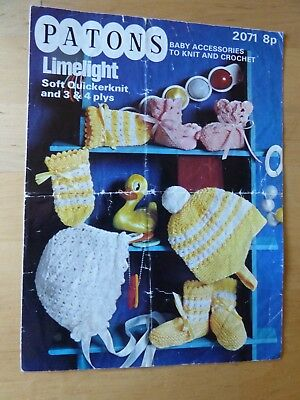 Vintage 70's Knitting Pattern, Baby Accessories to Knit & Crochet, Various Yarns