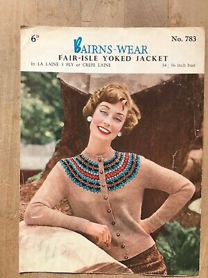 "Knitting Pattern, 50's, Cardigan with Fair Isle Yoke, 3ply. 34-36"" Bust"