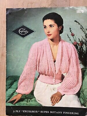 "Knitting Pattern, 50's, Cardigan, Deep Welt, Gathered Bodice, 3ply, 34-38"" Bust"