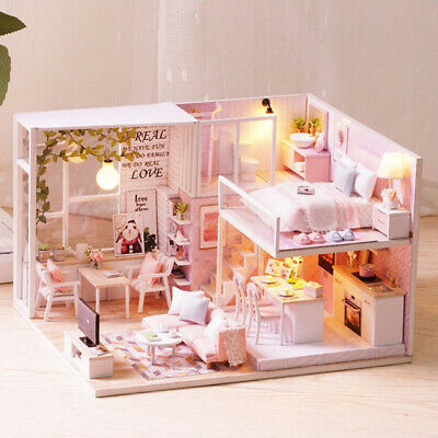 Miniature DIY Dollhouse Kit with Furniture LED Light Craft Duplex Loft Gift