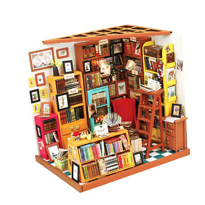 1:24 Dollhouse Kit Miniature DIY Bookstore Library House Kits Birthday Gifts