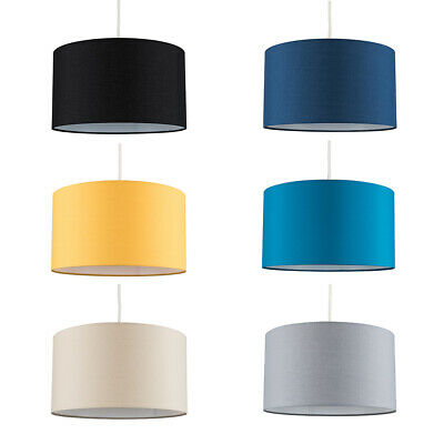 Large Drum Ceiling Pendant / Table Lamp Light Shades Easy Fit Fabric Lighting