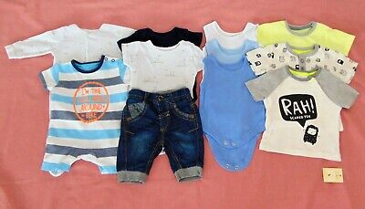11 x George/Mothercare Baby Boy's Clothing Bundle Job Lot 1st Size 1 month