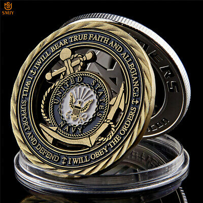 US Navy Logo Core Value Hollow Copper Token Challenge Commemorative Coin Collect