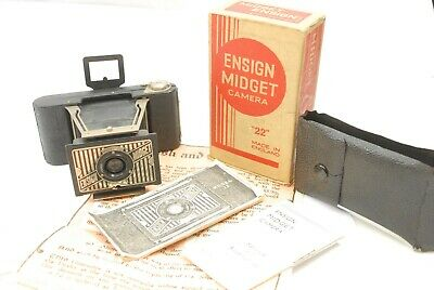 Ensign Midget Model 22, tiny folding camera VGC, boxed, case and paperwork