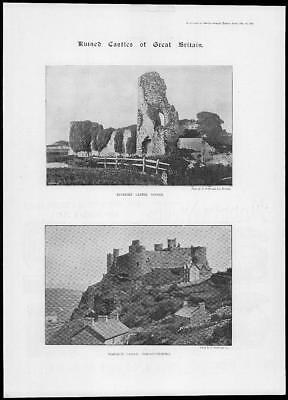 1895 Antique Print - SUSSEX Pevensey Castle WALES Merionethshire Harlech  (281)