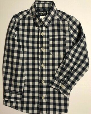 OshKosh Navy Checked Gingham Boys Shirt Long Sleeves Size 5 Excellent Condition